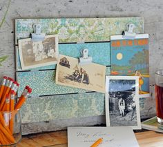 You don't need to buy decorations for your home when you can make DIY room decor easily and cheaply. Take this Vintage Paper Craft Photo Display Idea for example. Use inexpensive craft wood and any vintage-style scrapbook paper. Vintage Paper Crafts, Easy Paper Crafts, Easy Crafts For Kids, Easy Diy Crafts, Diy Paper, Decor Crafts, Photo Display Board, Photo Displays, Photo Craft