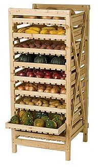 ORCHARD RACK - the time-tested way to store your onions. The drawers are slatted to ensure good air circulation, and they slide out for easy access. For best results, the rack should be located in a cool, dark cellar or shed.