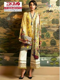 Printed Cotton Satin With Heavy Embroidery Pakistani Suits Visit : https://www.facebook.com/zikimofashion  Visit : http://www.zikimo.com
