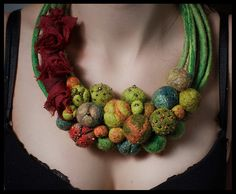 Felted necklace/collar with balls - green, orange, red, beige, gold and beads. By Dahrana