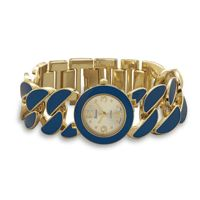 Gold Tone Curb Link Fashion Watch with Royal Blue Epoxy