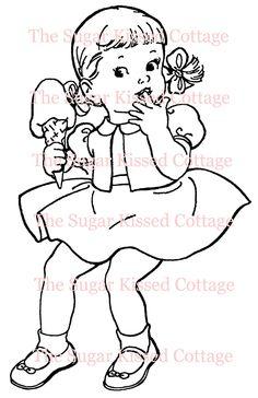 Digital Stamp - Ice Cream Girl. $3.00, via Etsy.