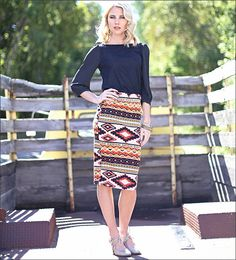Aztec Skirt with Black Lace Top from MikaRose