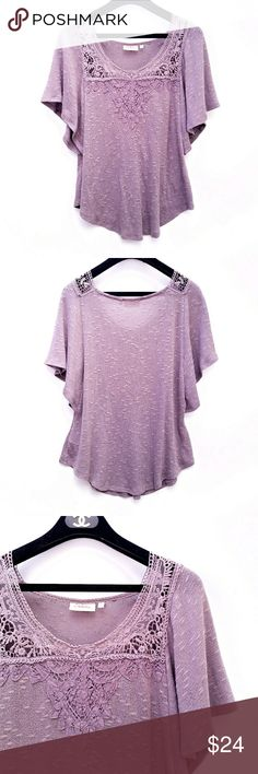 Anthropologie Deletta Point de Venise Knit Top Super light knit, flowy sleeves, crochet detail along the bust. Grey/lavender color Excellent condition  Feel free to ask me any additional questions! No trades, or modeling. Happy Poshing! Anthropologie Tops