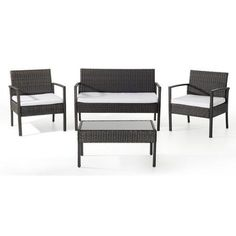 Beliani Tivoli Wicker Garden Furniture 4 Piece Deep Seating Group with Cushion