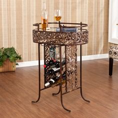 Ventura Wine Table, decorative wine table and storage makes a great accent for your home! By SEI