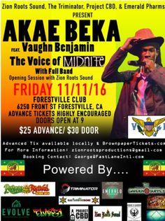 #AkaeBeka #LivicatedTour #AkaeBekaTour #AkaeBekaLive #VaughnBenjamin #Midnite #USVI #VIReggae #AkaeBekaSanfrancisco #BayAreaReggae #Forestville #Sonoma #ForestvilleClub #SonomaState #SantaRosa #AkaeBekaForestville