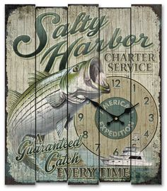 Salty Harbor Charter Service Wall Clock