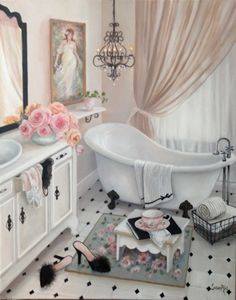 """Hers"" Susan Rios Keepsakes 8 x 10 Susan Rios has been a professional artist for over 30 years. You will find her romantic illustrations in many of Emilie Barnes Tea Books and her tranquil paintings i"