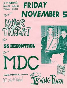Minor Threat, SSD, MDC at Irving Plaza, #NYC