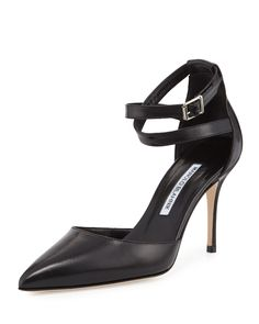 Manolo Blahnik Perta Ankle-Wrap D'Orsay 90mm Pump, Black, Size: 10.5B/40.5EU