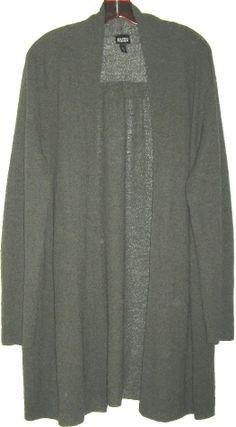 EILEEN FISHER swing cardigan sweater open jacket wrap wool crepe knit green XL #EileenFisher #Cardigan