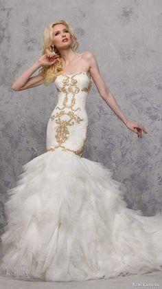 17683a1829f yumi katsura bridal strapless semi sweetheart neckline gold embroidery  trumpet mermaid wedding dress with chapel train botan -- Yumi Katsura  Spring 2016 ...