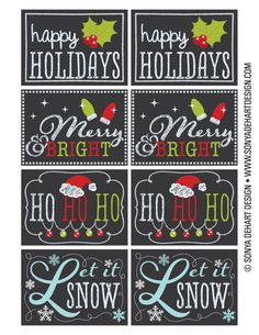 FREE Printable Chalkboard Christmas Tag Labels.