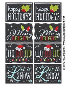 FREE Printable Chalkboard Christmas Tag Labels.
