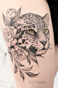 M Tattoos, Wolf Tattoos, Flower Tattoos, Body Art Tattoos, Girl Tattoos, Sleeve Tattoos, Cheetah Tattoo, Tiger Tattoo, Animal Thigh Tattoo