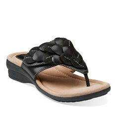 Look at this #zulilyfind! Black Reid Ricki Leather Sandal by Clarks #zulilyfinds