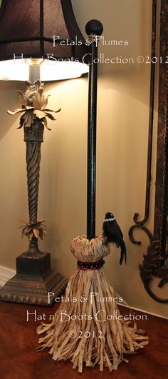 "2012 NEW VERSION ""Wicked Witch Hat n' Boots Stand w/Broom-featuring Mama & Baby Crow"" Halloween Decoration-Centerpiece-Wreath Accent"