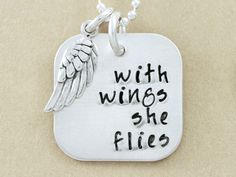 Fine Silver Jewelry Necklace Pendant - Personalized Hand Stamped Necklace - With Wings She Flies necklace by Christina Guenther