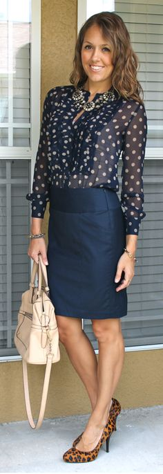 Today's Everyday Fashion: Old Made New — J's Everyday Fashion - polka dots, navy, statement necklace, leopard