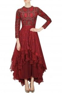 Red block print embellished asymmetrical layered gown dress on www.perniaspopupshop.com