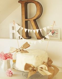 love the cake and monogram shabby chic for a baby shower or bridal shower wedding