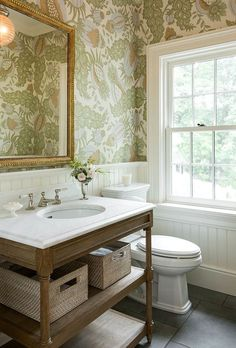 Powder Room with wallpaper and beadboard wainscoting via Morrissey Saypol Interiors Photo by Rob Karosis Powder Room Wallpaper, Powder Room Vanity, Powder Room Design, Bad Inspiration, Classic Bathroom Inspiration, Beautiful Bathrooms, My New Room, Bathroom Interior, Bathroom Trends