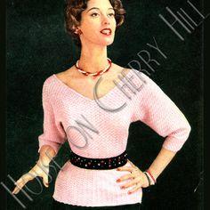 V-neck Sweater Pattern, bat wing sweater, crochet sweater pattern, 80s oversized sweater, belted waist sweater, plunging neckline on Etsy, $3.50