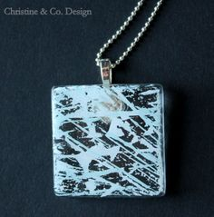 Shades of Light Blue Square Glass Pendant/ by ChristineandCodesign, $27.00