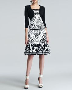 Cashmere-Silk Shrug & Sketched Baroque-Print Twill Dress by Oscar de la Renta at Bergdorf Goodman.
