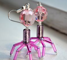 NEW  Pink T4 Bacteriophage Earrings by toutdoucement on Etsy, $33.95