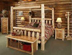 Timberland Canopy Bed Store~ The Place for Log Furniture, Log Beds, Log Swings and Rustic Cabin Decor Rustic Bedroom Furniture, Wood Furniture, Diy Bedroom, Bedroom Ideas, Theme Bedrooms, Bed Ideas, Cabin Bedrooms, Rustic Bedrooms, Western Furniture