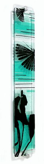 fused glass. clear base, turquoise clear or perhaps frit, stringer, black glass paint or print on glass