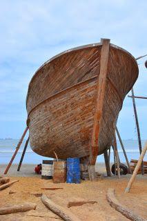 Boat building on the beach in Manta, #Ecuador.