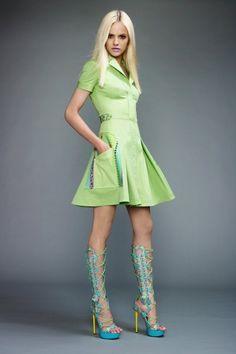 Versace Gowns   green versace dress - blue versace shoes