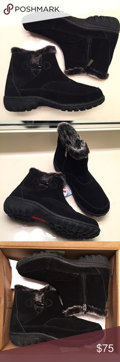 NEW black winter boots size 9 Brand new, never worn, still with tags and come with original box. Extremely comfortable, warm winter boots. Made with both leather and man made materials. High quality boots, women's size 9. Khombu Shoes Winter & Rain Boots