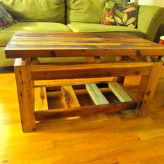 Wood coffee table made from Montana reclaimed Redwood and Cedar.