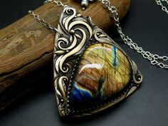 Aurora Skies - Bronze / Fine Silver Pendant Necklace with Labradorite