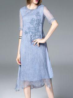 Light Blue A-line Casual Linen Crew Neck Midi Dress