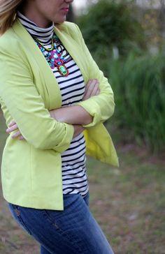 how to wear a neon blazer