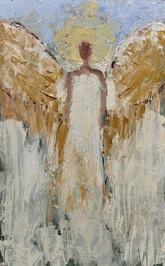 Faceless Angel Art Work Angel Painting Original Angel Wall Art Christmas Paintings, Christmas Art, Angel Wings Decor, Kinkade Paintings, Angel Artwork, Spring Painting, Sketch Painting, Celestial, Original Paintings