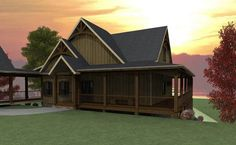 Lakefront House Plan with Wraparound Porch and Walkout Basement