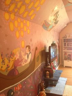 a disney room. so creative adding Disney everything Casa Disney, Disney Dream, Disney Love, Disney Magic, Disney Mural, Disney Playroom, Deco Disney, Disney Pixar, Disney Bedrooms