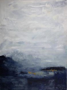 The deep shades of blue, gray, navy and yellow sea offset the off-white, gray and blue in the sky for a stormy moody landscape. The muted shades of blues and grays and technique give the painting a foggy appearance. The textured marks offset the blended brushstrokes creating a coastal scene that is