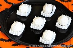 to dress up halloween treats! Pottery Barn Kids Halloween Party by Kara Allen of Kara's Party Ideas Hallowen Party, Halloween Treats, Halloween Diy, Happy Halloween, Halloween Ideias, Holiday Treats, Holiday Fun, Holiday Recipes, Halloween Queen