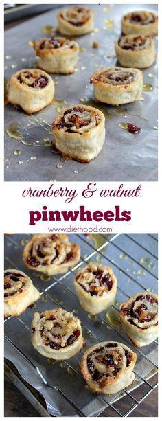 Cranberry and Walnut Pinwheels   www.diethood.com   #cranberries #dessert  #recipe