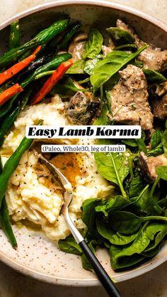 Lamb Recipes, Indian Food Recipes, Paleo Recipes, Real Food Recipes, Winter Recipes, Thanksgiving Recipes, Greek Meals, Lamb Korma, Focus Foods
