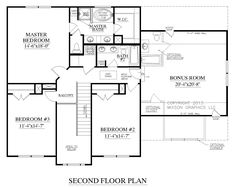 The CARVER Plan 2304 second floor plans. Traditional two-story plan. Two-story foyer and open living space on first floor. Lots of space and three large bedrooms upstairs featuring a large Master Suite with walk-in closet. Drop Zone at back door. Huge Optional Bonus Room.