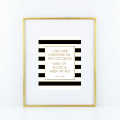 Coco Chanel Champagne Print Black by ACDShop on Etsy