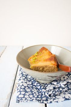 An apple upside-down cake from Small Plates & Sweet Treats via @Zainab Alasadi #recipe #oliveoil #cake